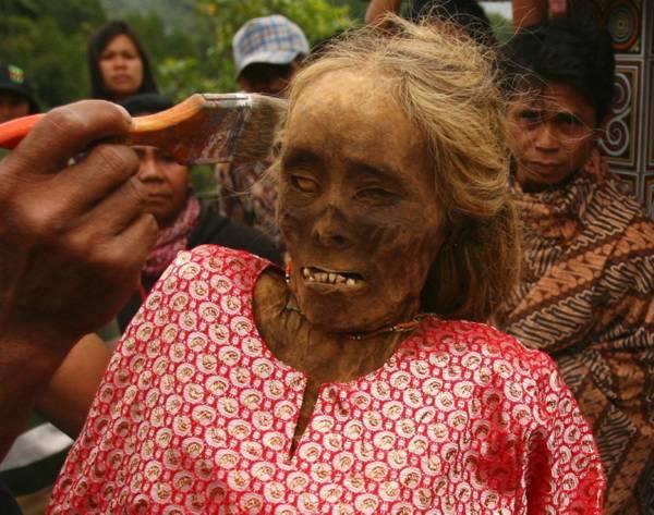 ритуал Ma'nene мумии индонезия