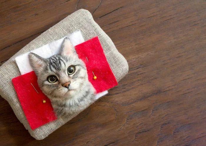 хэндмейд портреты кошек из шерсти