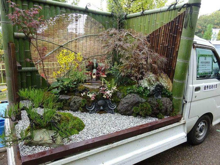 японский сад в кузове машин